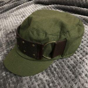 Jessica Simpson olive newsboy cap hat